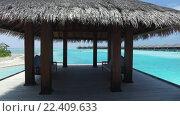 patio or terrace with canopy on beach sea shore. Стоковое видео, видеограф Syda Productions / Фотобанк Лори