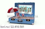 Купить «Beach accessories being drop in suitcase», видеоролик № 22410581, снято 22 ноября 2017 г. (c) Wavebreak Media / Фотобанк Лори