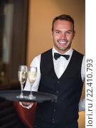 Купить «Waiter smiling at camera», фото № 22410793, снято 23 ноября 2015 г. (c) Wavebreak Media / Фотобанк Лори