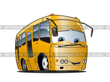 Мультяшный желтый школьный автобус