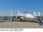 Купить «Международный авиационно-космический салон МАКС-2015. Су-27 СМ3 (по кодификации НАТО: Flanker) -  советский/российский многоцелевой всепогодный истребитель четвертого поколения», фото № 22425837, снято 25 августа 2015 г. (c) Игорь Долгов / Фотобанк Лори