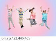 Купить «happy little children jumping in air», фото № 22440465, снято 31 января 2016 г. (c) Syda Productions / Фотобанк Лори
