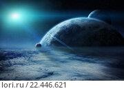 Купить «Sunrise over planets in space», иллюстрация № 22446621 (c) PantherMedia / Фотобанк Лори