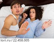 Купить «Young adults caught having sex in bed», фото № 22458005, снято 19 января 2019 г. (c) Яков Филимонов / Фотобанк Лори