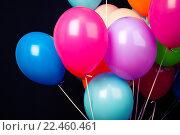 Купить «Красочные воздушные шары на черном фоне», фото № 22460461, снято 21 марта 2016 г. (c) EugeneSergeev / Фотобанк Лори