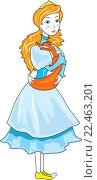 Принцесса и лисенок. Стоковая иллюстрация, иллюстратор Павлова Елена / Фотобанк Лори