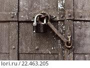 Купить «Металлический замок на двери», фото № 22463205, снято 26 марта 2016 г. (c) Зезелина Марина / Фотобанк Лори