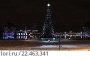 Купить «Новогодняя елка на стрелке Васильевского острова в Санкт-Петербурге ночью», видеоролик № 22463341, снято 15 января 2012 г. (c) Евгений Киблер / Фотобанк Лори