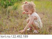Купить «Девочка сидит на корточках и ищет что-то в траве», фото № 22492189, снято 9 июля 2011 г. (c) Анна Кирьякова / Фотобанк Лори