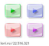 Стеклянные кнопки play на белом фоне. Стоковая иллюстрация, иллюстратор Олег Рында / Фотобанк Лори