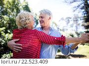 Happy senior couple dancing in the park. Стоковое фото, агентство Wavebreak Media / Фотобанк Лори