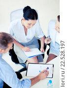 Купить «business team having discussion in office», фото № 22528197, снято 9 июня 2013 г. (c) Syda Productions / Фотобанк Лори