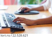 Купить «close up of female hands with keyboard and mouse», фото № 22528621, снято 29 марта 2015 г. (c) Syda Productions / Фотобанк Лори