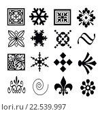 Купить «Силуэты разных узоров на белом фоне», иллюстрация № 22539997 (c) Сергеев Валерий / Фотобанк Лори