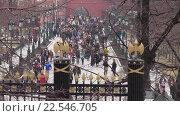 Купить «Люди в Александровском саду», эксклюзивный видеоролик № 22546705, снято 10 апреля 2016 г. (c) Alexei Tavix / Фотобанк Лори