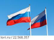 Российский флаг на фоне неба. Стоковое фото, фотограф Николай Чутчиков / Фотобанк Лори