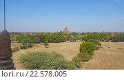 Купить «Панорама с храмами Багана, Мьянма (Бирма)», видеоролик № 22578005, снято 9 апреля 2016 г. (c) Михаил Коханчиков / Фотобанк Лори
