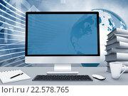 Купить «Composite image of image of a desk with computer», фото № 22578765, снято 15 июня 2019 г. (c) Wavebreak Media / Фотобанк Лори