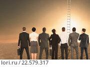 Купить «Composite image of rear view of multiethnic business people standing side by side», фото № 22579317, снято 18 июня 2019 г. (c) Wavebreak Media / Фотобанк Лори