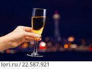 Купить «Женская рука держит бокал шампанского на фоне ночного города», фото № 22587921, снято 10 января 2016 г. (c) Сергей Новиков / Фотобанк Лори