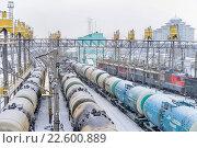 Железнодорожная станция Улан-Удэ, наливные составы на путях экипировки локомотивов (2016 год). Редакционное фото, фотограф Геннадий Соловьев / Фотобанк Лори