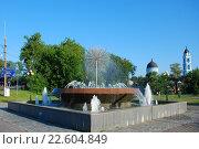 Светодиодный фонтан в чаше. Богоявленский собор. Город Ногинск Московской области, эксклюзивное фото № 22604849, снято 15 июля 2009 г. (c) lana1501 / Фотобанк Лори