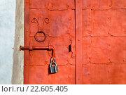 Купить «Гранж-фон - старая ярко-оранжевая стальная дверь с заклепками», фото № 22605405, снято 16 апреля 2016 г. (c) Зезелина Марина / Фотобанк Лори