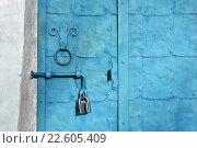 Купить «Старые синие металлические двери с навесным замком и щеколдой», фото № 22605409, снято 16 апреля 2016 г. (c) Зезелина Марина / Фотобанк Лори