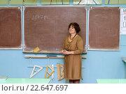 Учительница стоит около доски. Стоковое фото, фотограф Анна Кирьякова / Фотобанк Лори