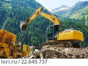 Купить «excavator loader machine at construction site», фото № 22649737, снято 17 июля 2015 г. (c) Дмитрий Калиновский / Фотобанк Лори