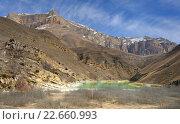 Купить «Зеленое озеро в горах Кавказа весной», фото № 22660993, снято 21 марта 2016 г. (c) александр жарников / Фотобанк Лори