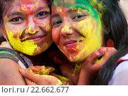 Купить «DHAKA, BANGLADESH - MARCH 23 : Bangladeshi youth playing coloured powders during Holi celebrations in Dhaka, Bangladesh on March 23, 2016.Holi is the festival...», фото № 22662677, снято 23 марта 2016 г. (c) age Fotostock / Фотобанк Лори