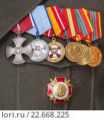Купить «Order and different medals on the russian army uniform», фото № 22668225, снято 23 августа 2019 г. (c) FotograFF / Фотобанк Лори
