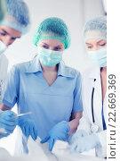 Купить «young group of doctors doing operation», фото № 22669369, снято 18 мая 2013 г. (c) Syda Productions / Фотобанк Лори