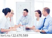 Купить «business team having meeting in office», фото № 22670589, снято 9 июня 2013 г. (c) Syda Productions / Фотобанк Лори