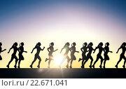 Купить «happy young sports woman running outdoors», фото № 22671041, снято 17 октября 2015 г. (c) Syda Productions / Фотобанк Лори