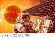 Купить «Spacecraft and astronauts in space on background sun star», фото № 22678189, снято 15 декабря 2018 г. (c) Андрей Армягов / Фотобанк Лори