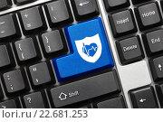 Купить «Концептуальная клавиатура. Синяя клавиша с изображением щита и символа здоровья», фото № 22681253, снято 30 сентября 2011 г. (c) Самохвалов Артем / Фотобанк Лори