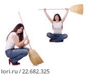 Купить «Woman with broom isolated on white», фото № 22682325, снято 15 февраля 2019 г. (c) Elnur / Фотобанк Лори