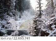 Купить «Карелия, Россия. Зимний водопад Кивач», фото № 22693741, снято 7 января 2016 г. (c) Natalya Sidorova / Фотобанк Лори