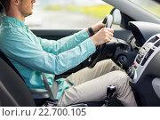 Купить «close up of young man driving car», фото № 22700105, снято 17 июля 2015 г. (c) Syda Productions / Фотобанк Лори