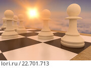 Купить «Composite image of white pawns on chess board», фото № 22701713, снято 18 ноября 2018 г. (c) Wavebreak Media / Фотобанк Лори