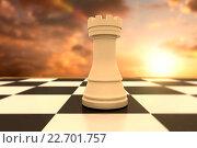 Купить «Composite image of white rook on chess board», фото № 22701757, снято 18 ноября 2018 г. (c) Wavebreak Media / Фотобанк Лори