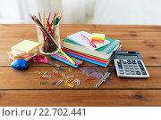 Купить «close up of stationery or school supplies on table», фото № 22702441, снято 17 марта 2016 г. (c) Syda Productions / Фотобанк Лори
