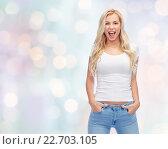 Купить «happy young woman or teenage girl in white t-shirt», фото № 22703105, снято 13 февраля 2016 г. (c) Syda Productions / Фотобанк Лори