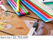 Купить «close up of stationery or school supplies on table», фото № 22703641, снято 17 марта 2016 г. (c) Syda Productions / Фотобанк Лори