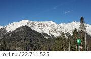 Купить «Снежные горы Кавказа и хвойный лес, Красная Поляна», фото № 22711525, снято 1 апреля 2016 г. (c) DiS / Фотобанк Лори
