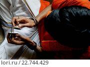 Купить «Devotee chanting kirtans in the Sarcelles ISKCON temple.», фото № 22744429, снято 19 апреля 2019 г. (c) age Fotostock / Фотобанк Лори