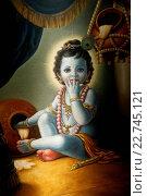 Купить «Painting in the London ISKCON hindu temple : Baby Krishna spilling butter», фото № 22745121, снято 19 апреля 2019 г. (c) age Fotostock / Фотобанк Лори