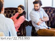 Купить «Psychologist helping a couple with relationship difficulties», фото № 22753993, снято 13 марта 2016 г. (c) Wavebreak Media / Фотобанк Лори